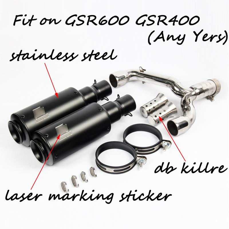 【送料無料】スズキ gsr600 gsr400 BK600 bk400 オートバイステンレス マフラーパイプ 2バリエーション ブラックカラー&チタンカラー_画像1