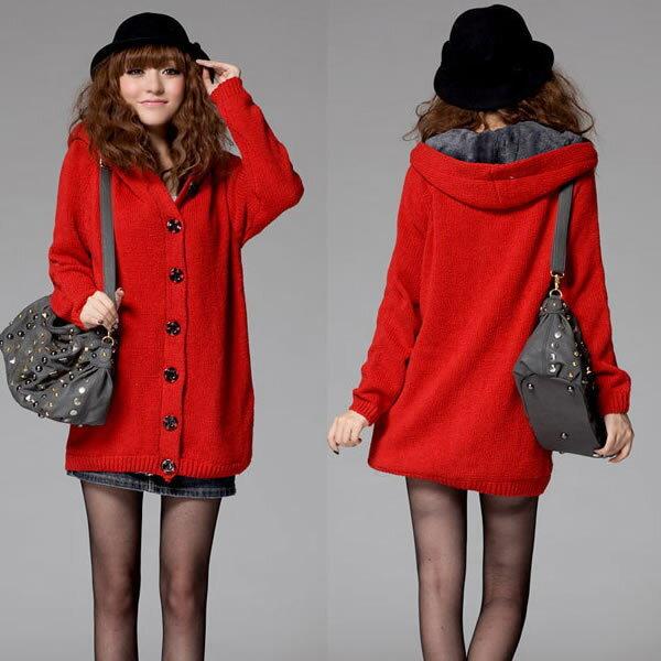 美品ファーカーディガン裏ボア付きフードニットコートボア付綺麗な赤色_画像1