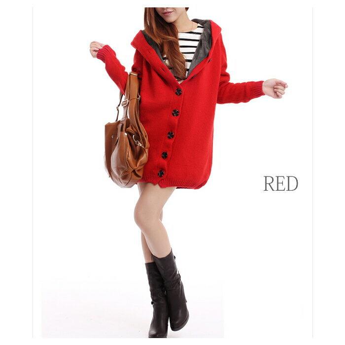 美品ファーカーディガン裏ボア付きフードニットコートボア付綺麗な赤色_画像3
