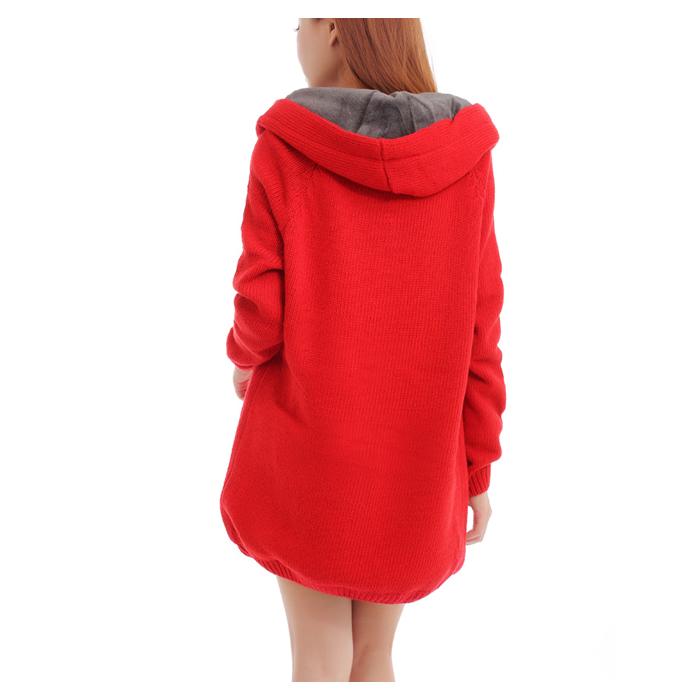 美品ファーカーディガン裏ボア付きフードニットコートボア付綺麗な赤色_画像4