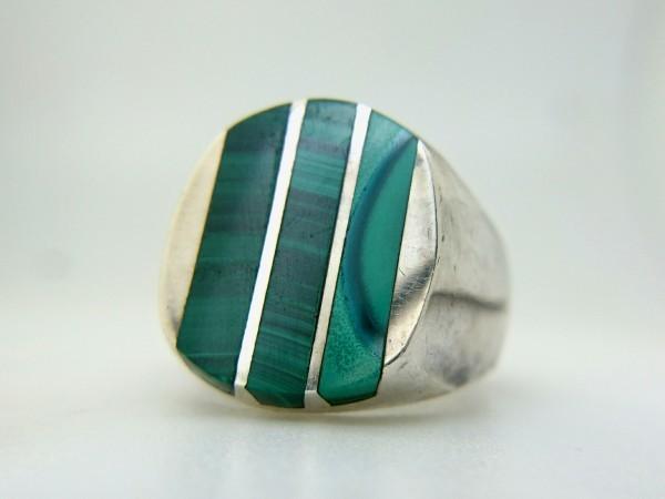 ビンテージ 925 シルバー製 メキシカン マラカイト インレイ ヘビー リング メキシコ 指輪_画像4
