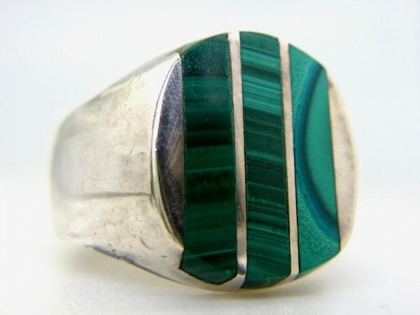 ビンテージ 925 シルバー製 メキシカン マラカイト インレイ ヘビー リング メキシコ 指輪_画像1