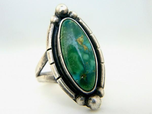 ビンテージ シルバー製 ナバホ グリーン ターコイズ リング インディアン ジュエリー ハンドメイド 指輪