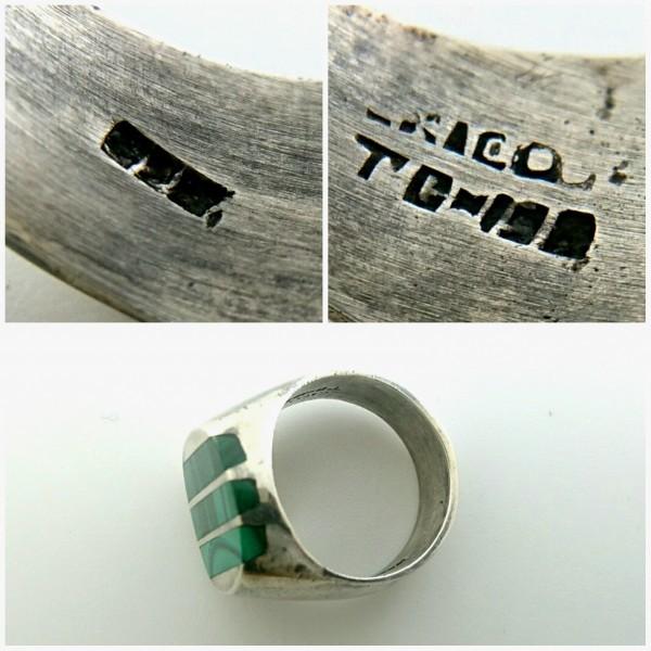 ビンテージ 925 シルバー製 メキシカン マラカイト インレイ ヘビー リング メキシコ 指輪_画像3