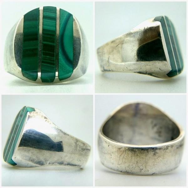 ビンテージ 925 シルバー製 メキシカン マラカイト インレイ ヘビー リング メキシコ 指輪_画像2