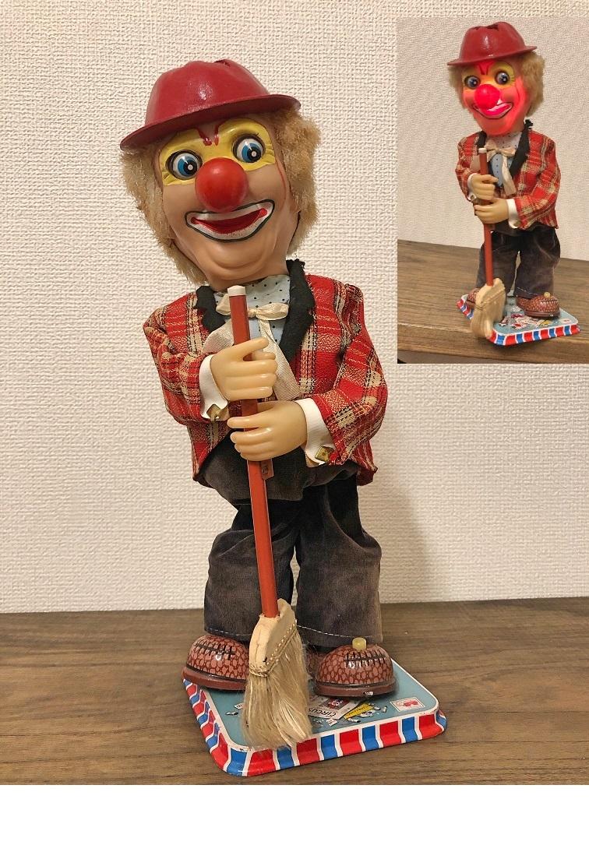 当時物 1960代日本製 野村トーイ製 電動ブリキ玩具 ピエロ 検鉄人 ブルマァク マルサン