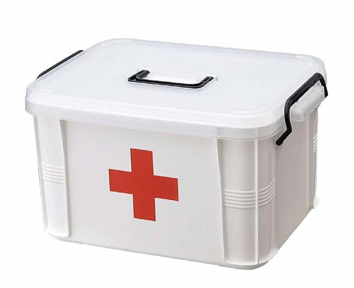 MODE des MONDE 救急箱 薬箱 大容量 収納 ケース 赤十字 救急 小物 入れ ボックス 道具箱 (L)