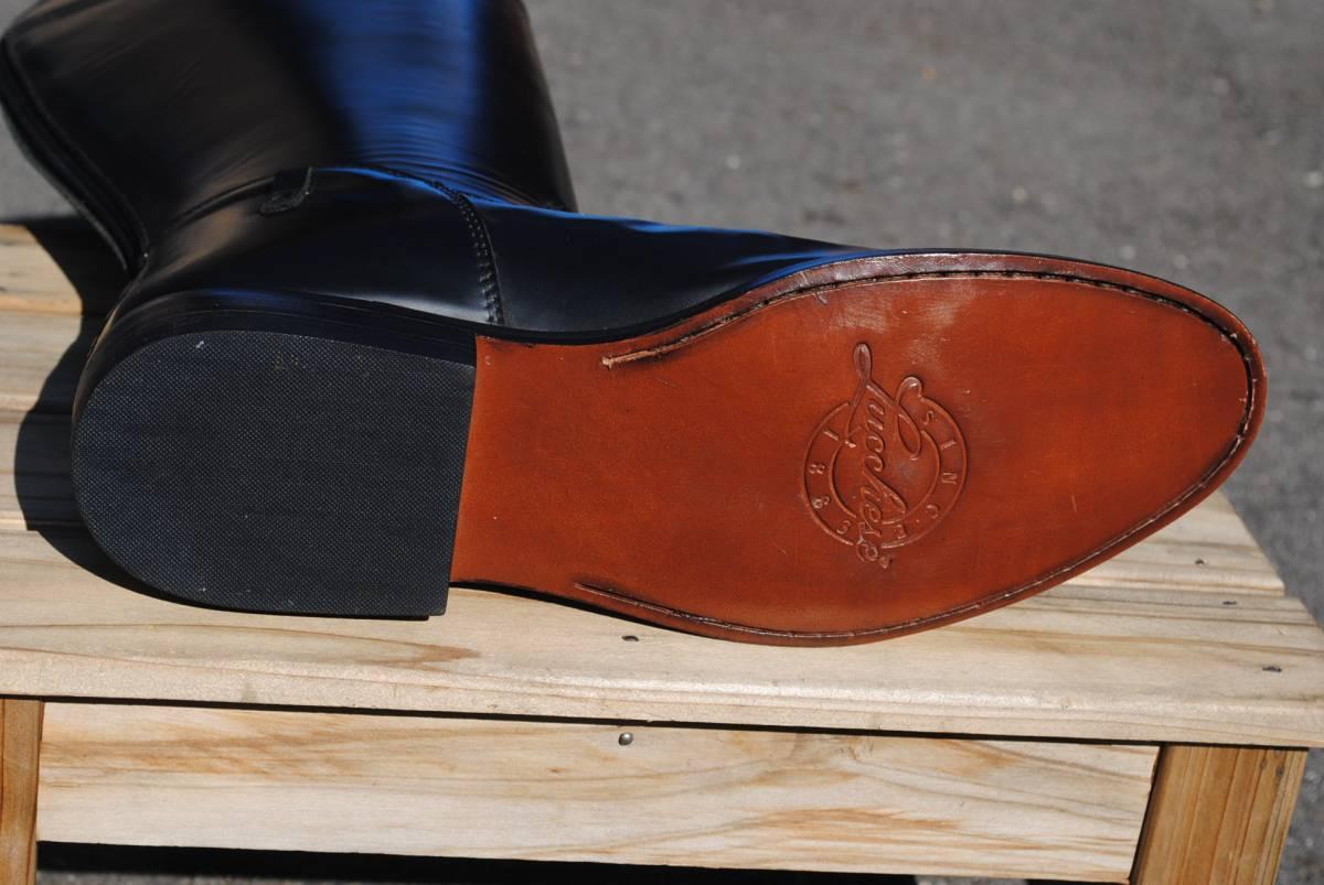 新品 アメリカ製 試作品 ルケーシー 濃茶牛革 ヨーロッパ調 乗馬ブーツ ポロ ブーツ 10D(28cm前後) 高43-46㎝ 履口外周約46㎝_画像8