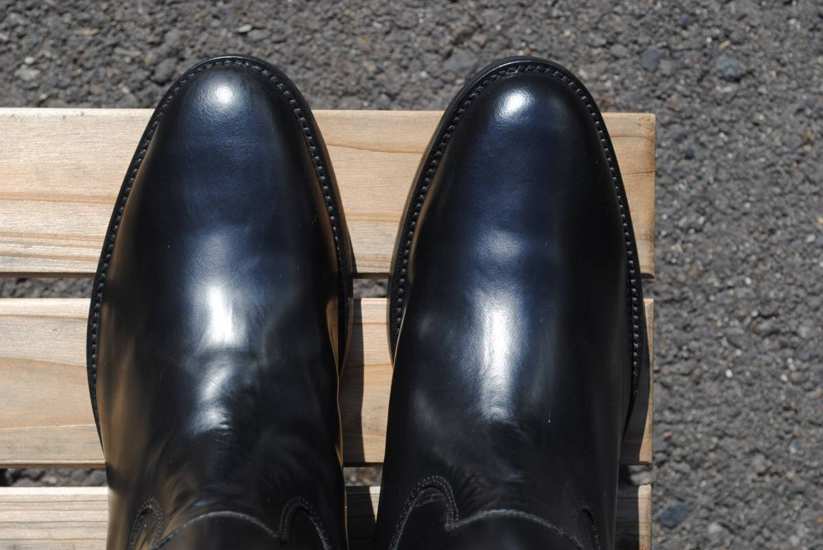 新品 アメリカ製 試作品 ルケーシー 濃茶牛革 ヨーロッパ調 乗馬ブーツ ポロ ブーツ 10D(28cm前後) 高43-46㎝ 履口外周約46㎝_画像2