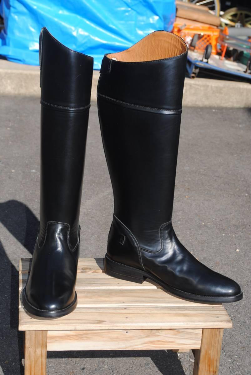 新品 アメリカ製 試作品 ルケーシー 濃茶牛革 ヨーロッパ調 乗馬ブーツ ポロ ブーツ 10D(28cm前後) 高43-46㎝ 履口外周約46㎝_画像1