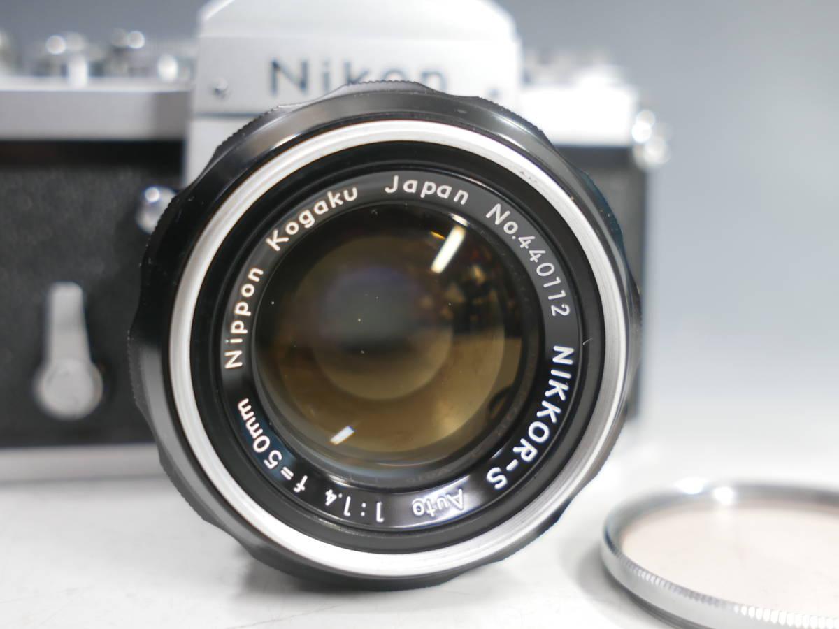 ◆Nikon【F アイレベル】+レンズ【NIKKOR-S Auto 1:1.4 f=50mm】革ケース付属 ニコン_画像3
