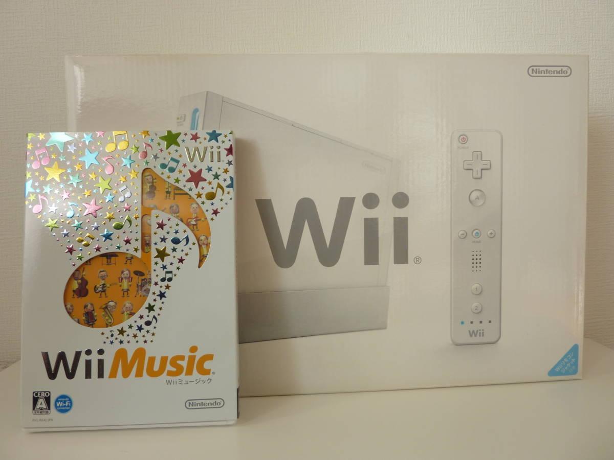 未使用 Nintendo Wii 本体 RVL-S-WD   WiiMusic 1本のおまけ付き_画像1