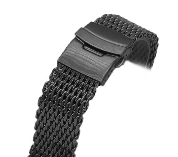 【新品】18mm シャーク メッシュ ブレス ベルト ステンレス ブラック 黒 腕時計 時計 バンド ブレスレット オメガ シーマスター ダイバー _画像3