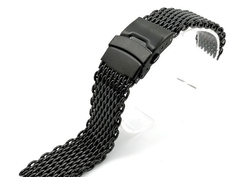 【新品】18mm シャーク メッシュ ブレス ベルト ステンレス ブラック 黒 腕時計 時計 バンド ブレスレット オメガ シーマスター ダイバー _画像2