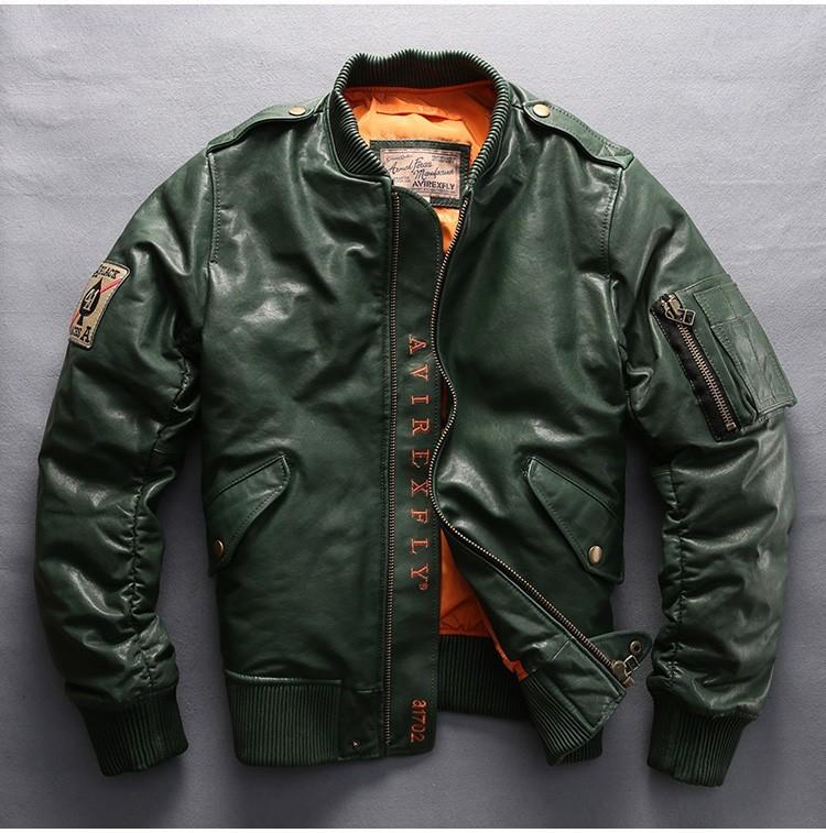 サイズM グリーン ダウンジャケット レザージャケット 羊革 本革 革ジャケット レザーダウン フライトジャケット 羊革バイクジャケット