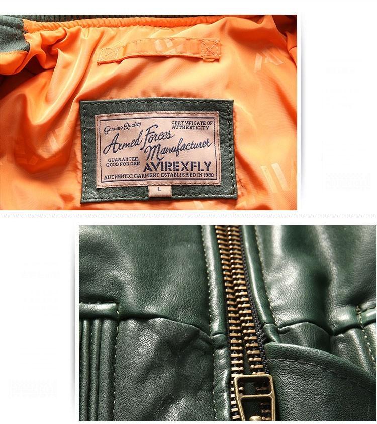 サイズM グリーン ダウンジャケット レザージャケット 羊革 本革 革ジャケット レザーダウン フライトジャケット 羊革バイクジャケット_画像6