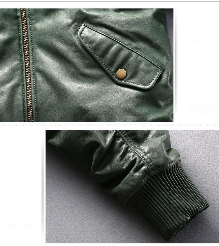 サイズM グリーン ダウンジャケット レザージャケット 羊革 本革 革ジャケット レザーダウン フライトジャケット 羊革バイクジャケット_画像8