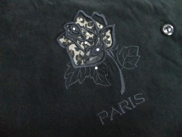 ノーブランド レディース バラ刺繍 ポリエステル100% 裏地レオパード レース刺繍 ライトストーン ベスト 黒_画像2