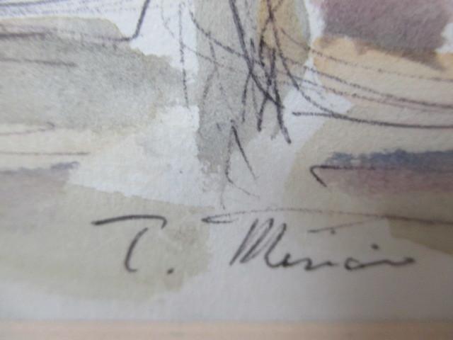 水彩画 ナポリのマーケット'86 T.MINAH. 『額装(約):縦35㎝×横43㎝×厚み2㎝』 『画寸:20cm×26cm』_画像4