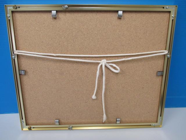 水彩画 ナポリのマーケット'86 T.MINAH. 『額装(約):縦35㎝×横43㎝×厚み2㎝』 『画寸:20cm×26cm』_画像5