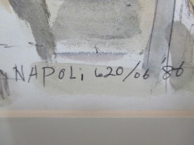水彩画 ナポリのマーケット'86 T.MINAH. 『額装(約):縦35㎝×横43㎝×厚み2㎝』 『画寸:20cm×26cm』_画像3