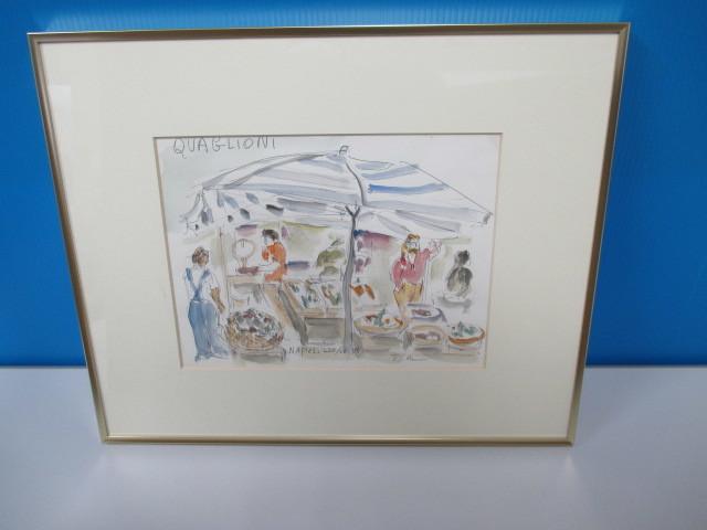 水彩画 ナポリのマーケット'86 T.MINAH. 『額装(約):縦35㎝×横43㎝×厚み2㎝』 『画寸:20cm×26cm』_画像1