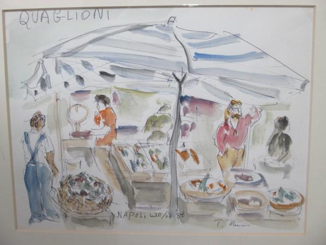 水彩画 ナポリのマーケット'86 T.MINAH. 『額装(約):縦35㎝×横43㎝×厚み2㎝』 『画寸:20cm×26cm』_画像2