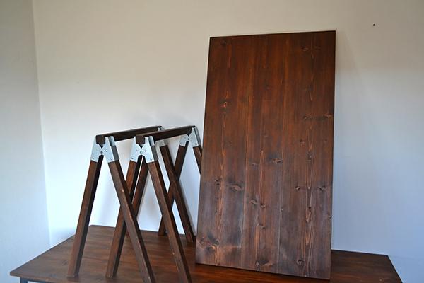 Sawhorse Table 120 2x2 木製脚 馬脚 アンティーク テーブル 什器 アトリエ ワーク デスク 無垢 大きい ソーホース キャンプ_画像5