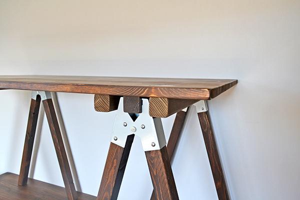 Sawhorse Table 120 2x2 木製脚 馬脚 アンティーク テーブル 什器 アトリエ ワーク デスク 無垢 大きい ソーホース キャンプ_画像3
