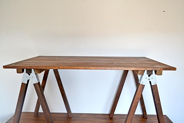 Sawhorse Table 120 2x2 木製脚 馬脚 アンティーク テーブル 什器 アトリエ ワーク デスク 無垢 大きい ソーホース キャンプ_画像4