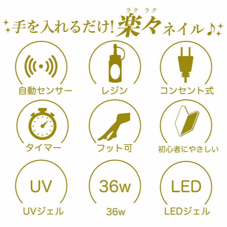★ ジェルネイル ライト LEDライト UVライト ネイルライト 硬化ライト ネイルドライヤー 36W センサータイマー ネイル用品 セルフネイル 爪_画像8