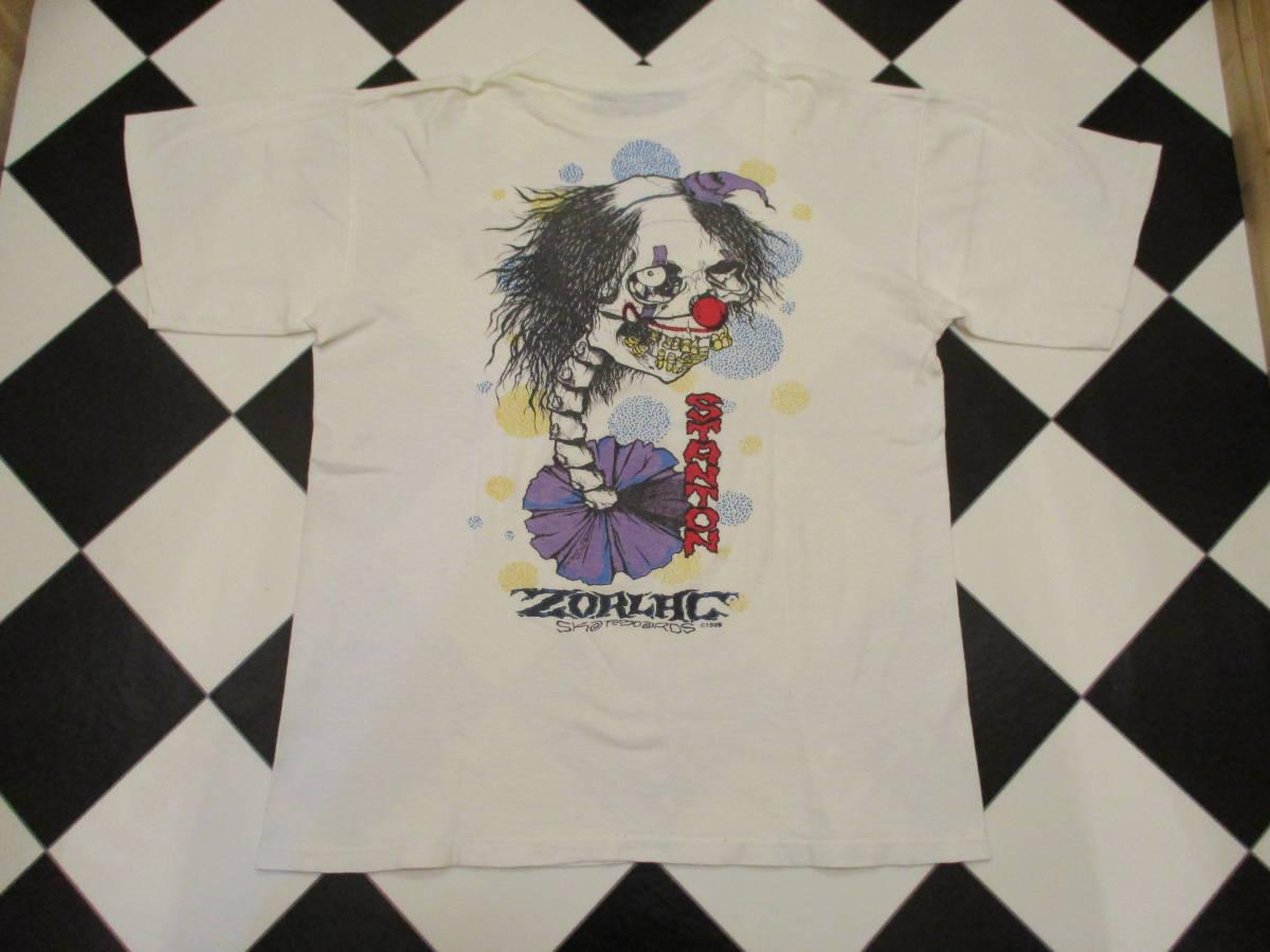 80's ZORLAC STANTON CLOWN PUSHEAD ゾーラック パスヘッド ビンテージ スケボー Tシャツ 白_画像1