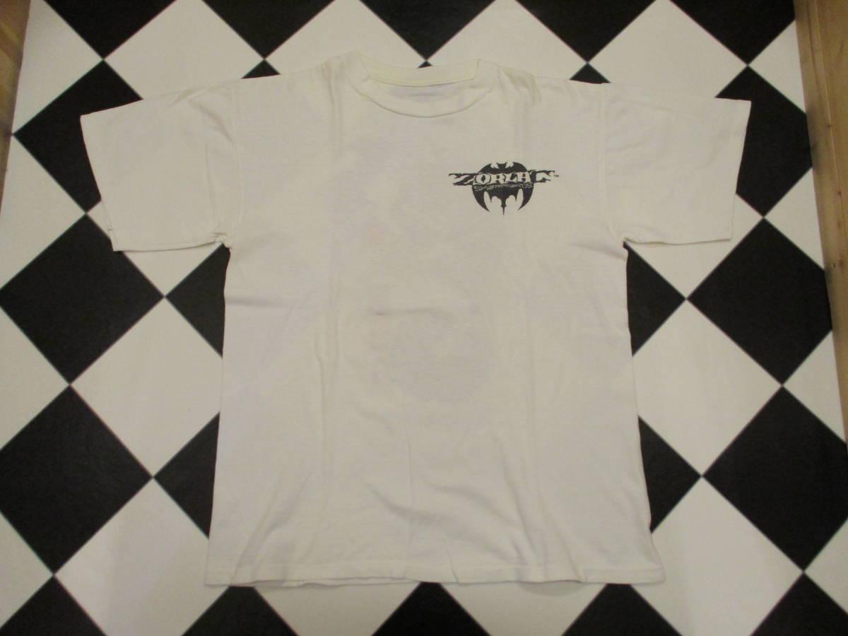 80's ZORLAC STANTON CLOWN PUSHEAD ゾーラック パスヘッド ビンテージ スケボー Tシャツ 白_画像2