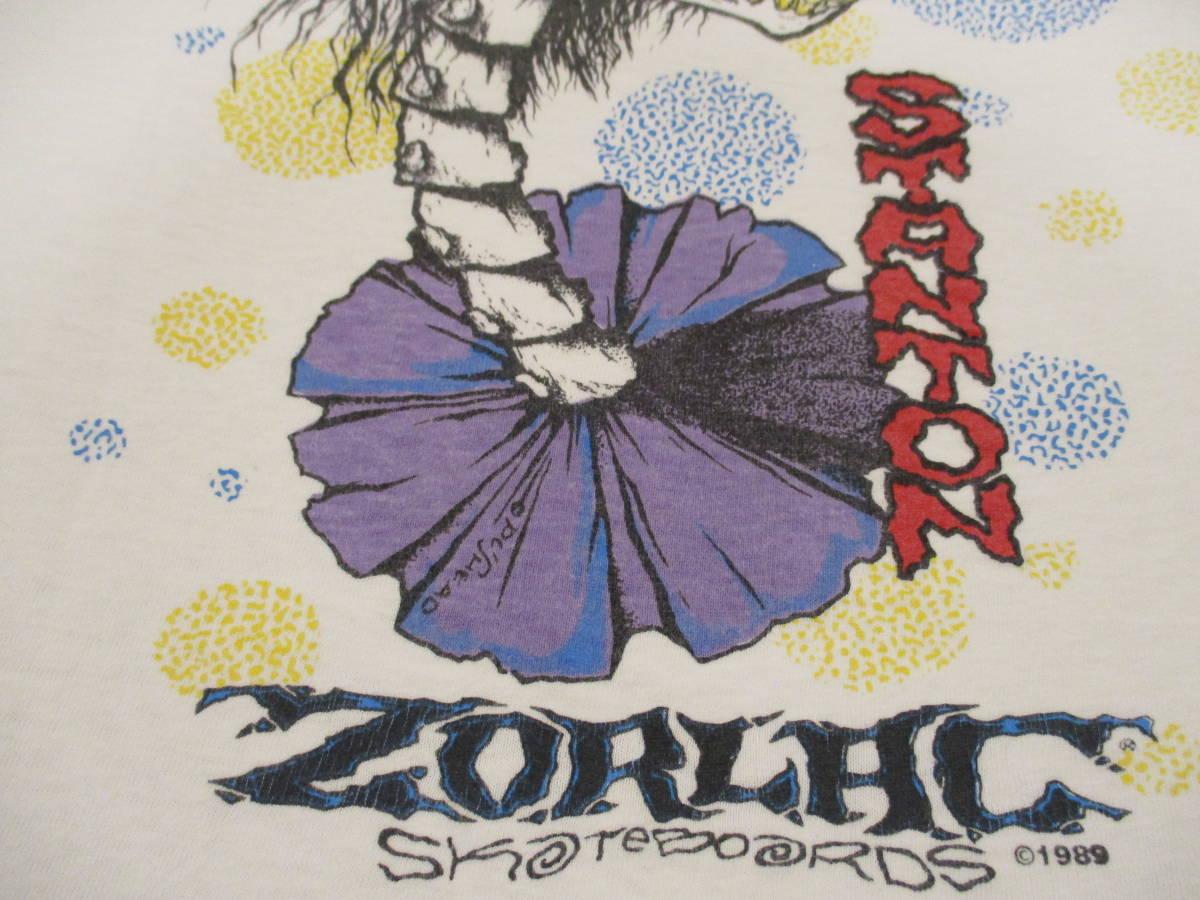 80's ZORLAC STANTON CLOWN PUSHEAD ゾーラック パスヘッド ビンテージ スケボー Tシャツ 白_画像5
