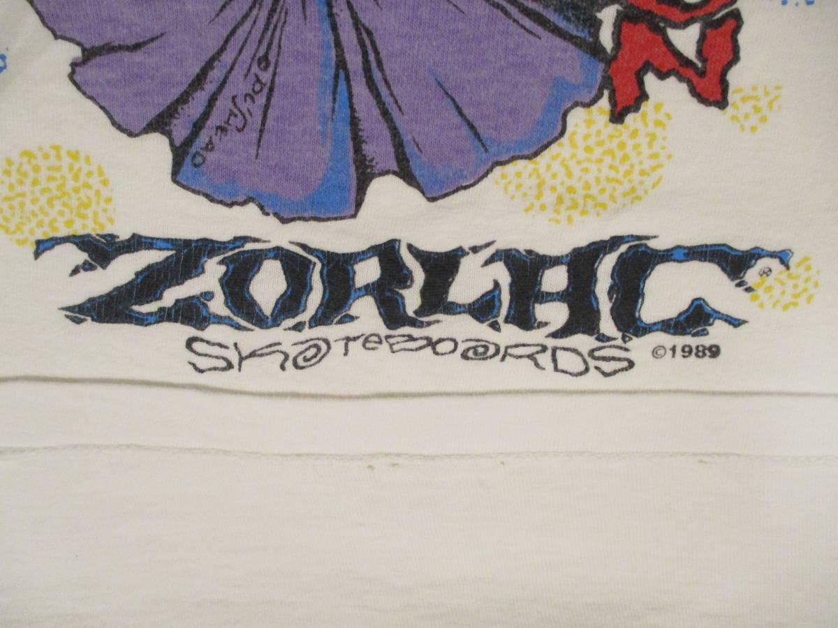 80's ZORLAC STANTON CLOWN PUSHEAD ゾーラック パスヘッド ビンテージ スケボー Tシャツ 白_画像9