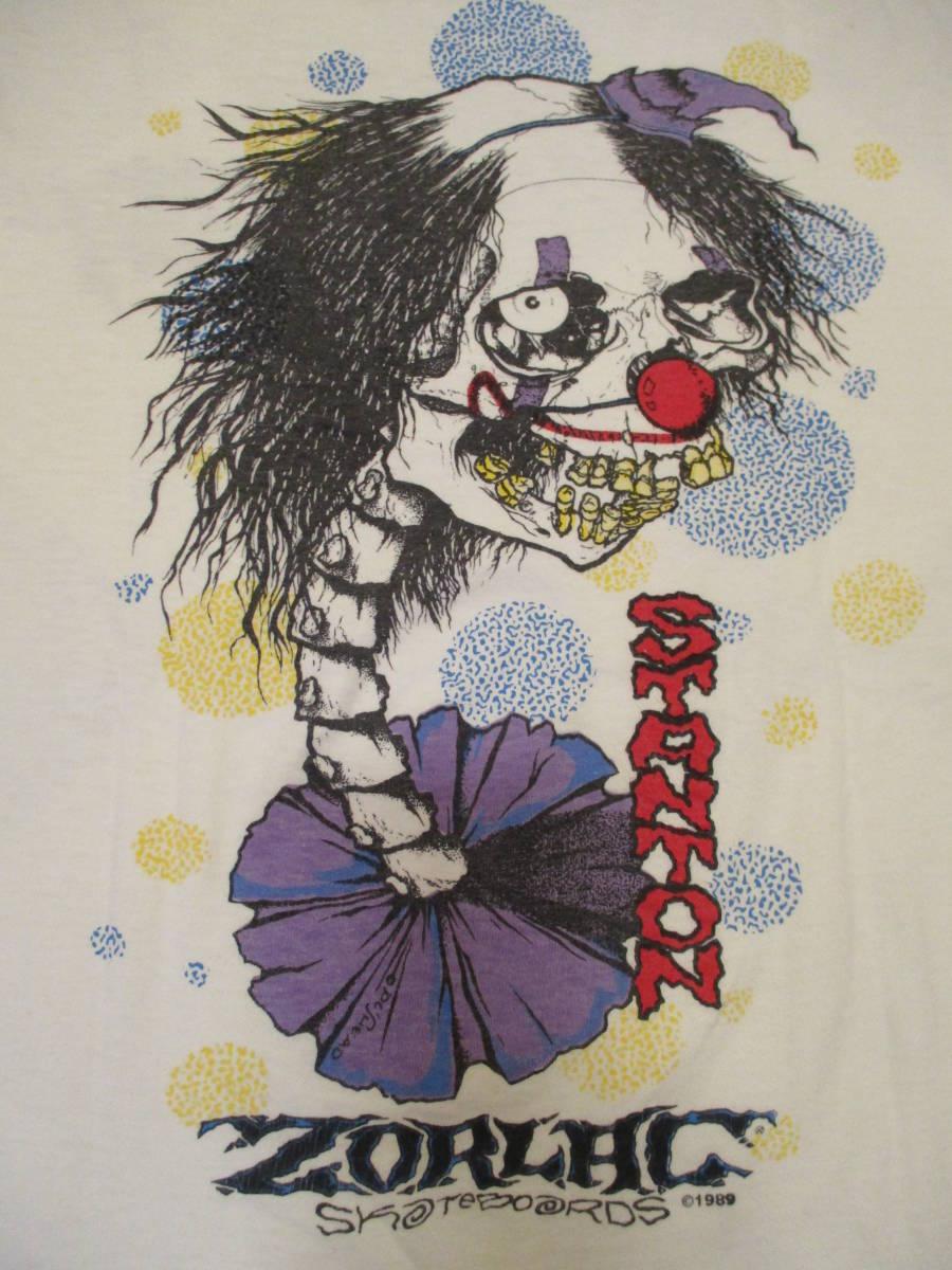 80's ZORLAC STANTON CLOWN PUSHEAD ゾーラック パスヘッド ビンテージ スケボー Tシャツ 白_画像3