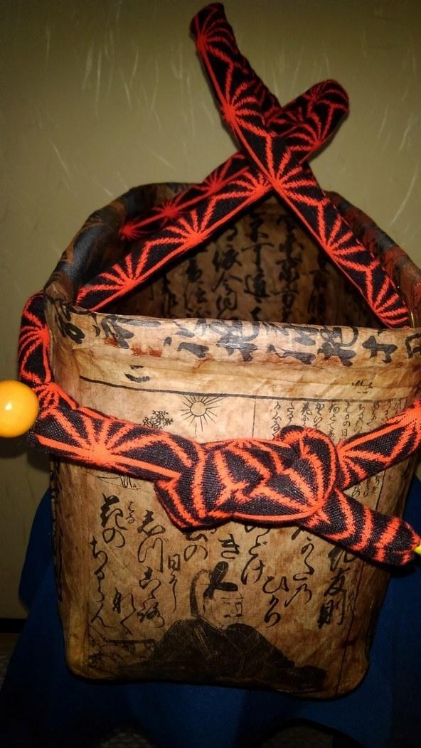 一閑張り籠、インテリア、手作り、束ね熨斗柄、一閑張り、一貫張り、かご、カゴ、籠_画像4