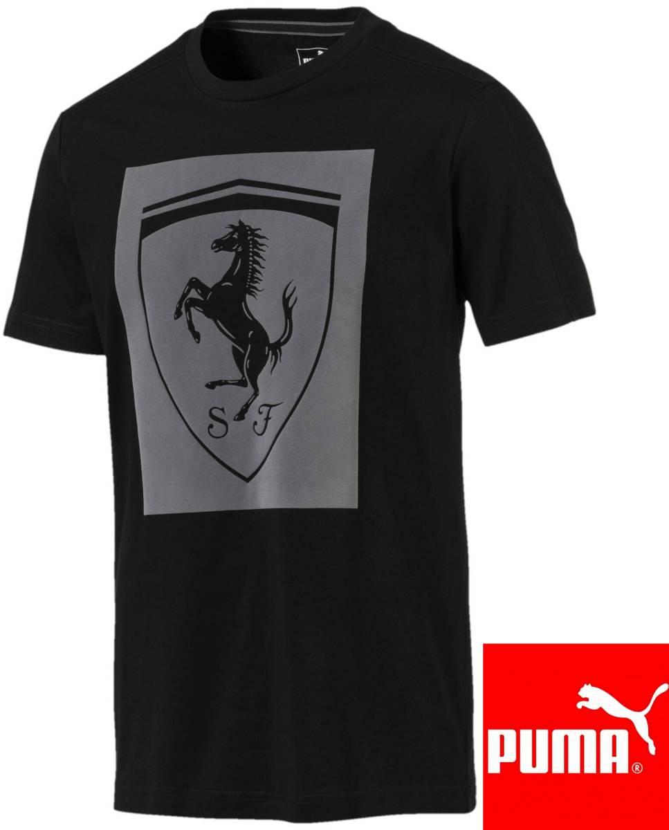 送料250円~新品2018PUMA x Scuderia Ferrariコレクション黒フェラーリ ビッグシールドTシャツMメンズ(Lサイズ相当)576684_02プーマブラック_画像1