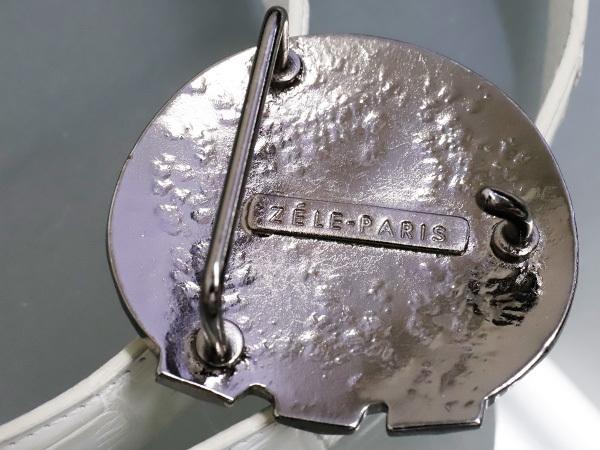 極上品 ゼルパリ Zele Paris 定価188,000円 最高級マットクロコダイルレザー 螺鈿装飾 カブリエル クロコベルト メンズ80 本物 正規_画像3