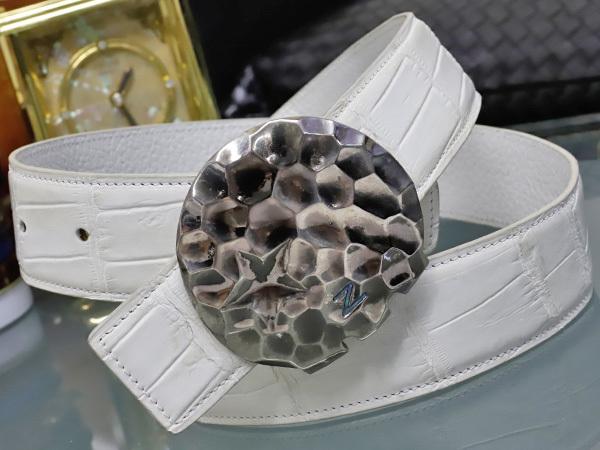 極上品 ゼルパリ Zele Paris 定価188,000円 最高級マットクロコダイルレザー 螺鈿装飾 カブリエル クロコベルト メンズ80 本物 正規_画像1