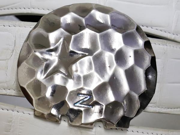 極上品 ゼルパリ Zele Paris 定価188,000円 最高級マットクロコダイルレザー 螺鈿装飾 カブリエル クロコベルト メンズ80 本物 正規_画像2