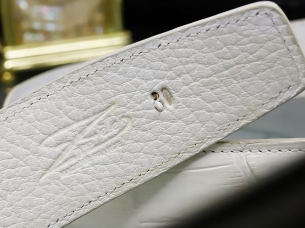 極上品 ゼルパリ Zele Paris 定価188,000円 最高級マットクロコダイルレザー 螺鈿装飾 カブリエル クロコベルト メンズ80 本物 正規_画像6