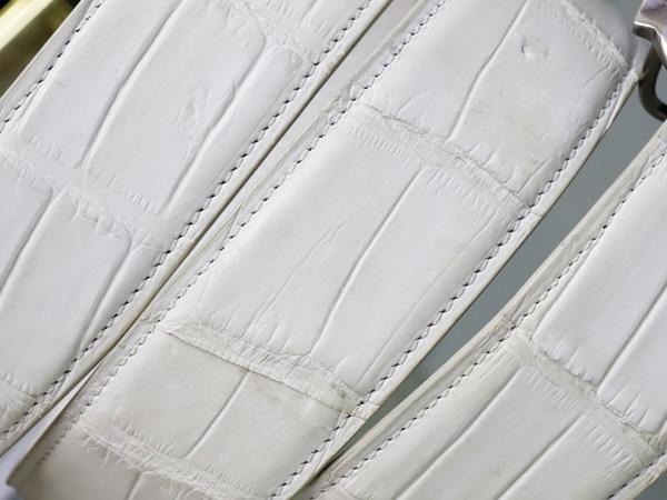 極上品 ゼルパリ Zele Paris 定価188,000円 最高級マットクロコダイルレザー 螺鈿装飾 カブリエル クロコベルト メンズ80 本物 正規_画像5