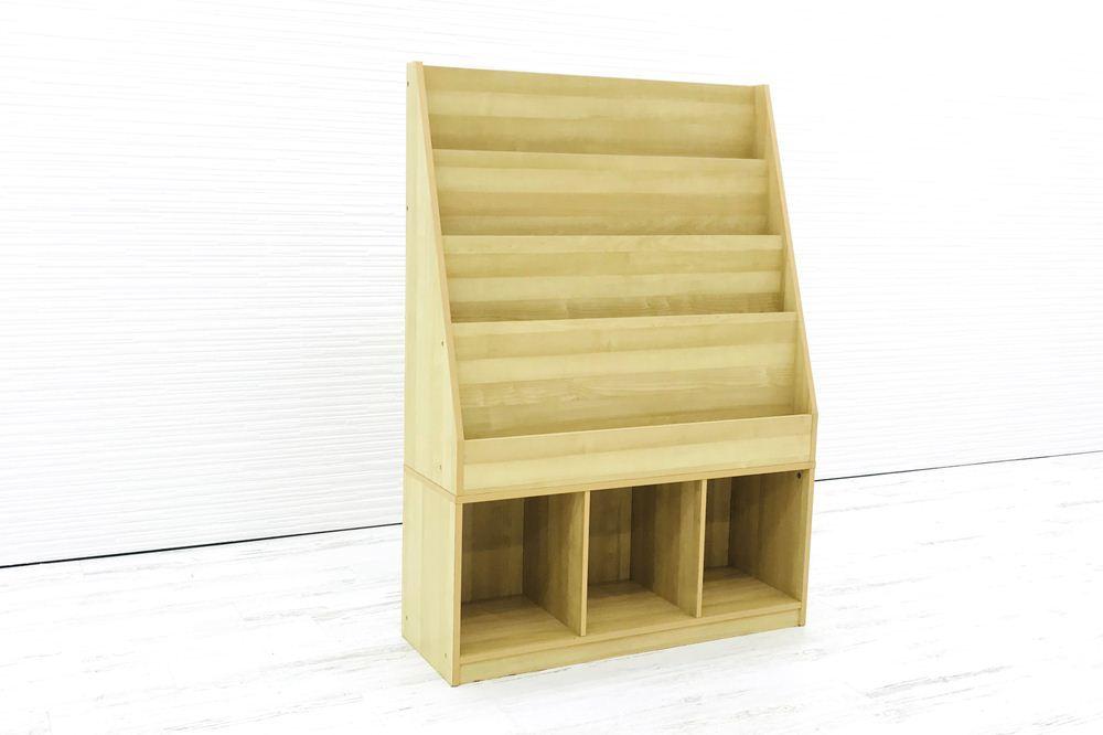 雑誌架 中古 木製 4段 オフィス家具 ラック パンフレットラック マガジンラック 中古オフィス家具_画像1