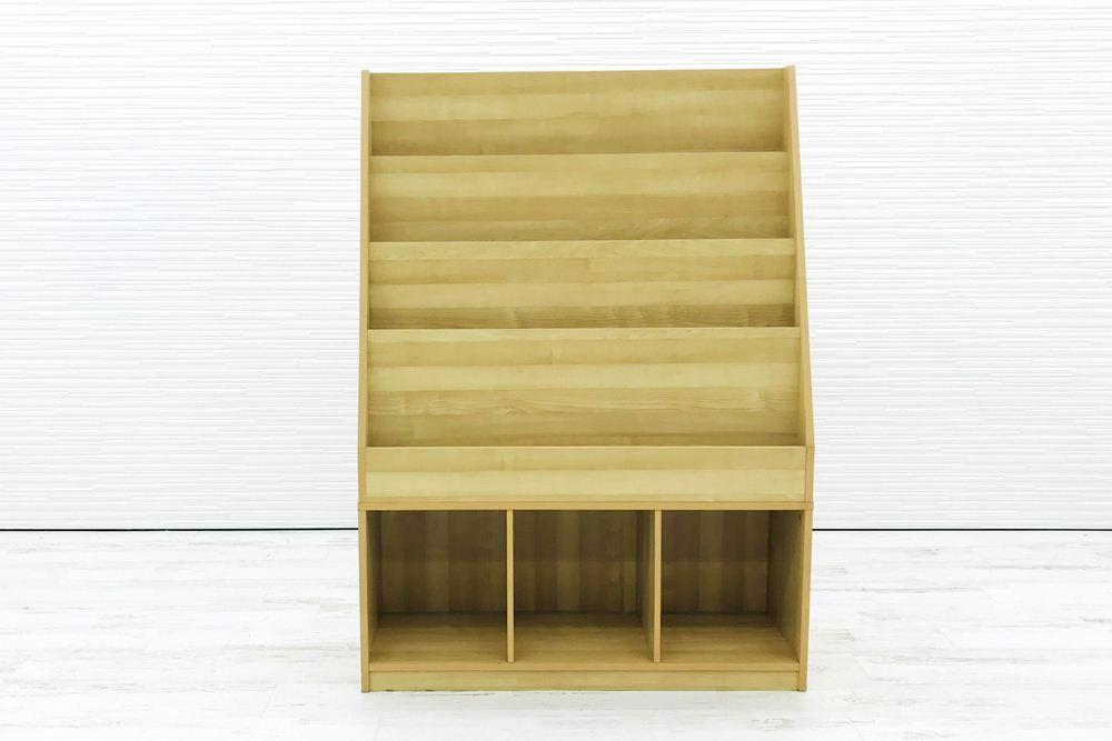 雑誌架 中古 木製 4段 オフィス家具 ラック パンフレットラック マガジンラック 中古オフィス家具_画像2