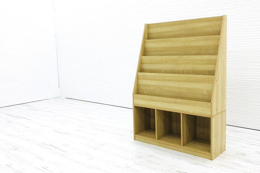 雑誌架 中古 木製 4段 オフィス家具 ラック パンフレットラック マガジンラック 中古オフィス家具_画像3