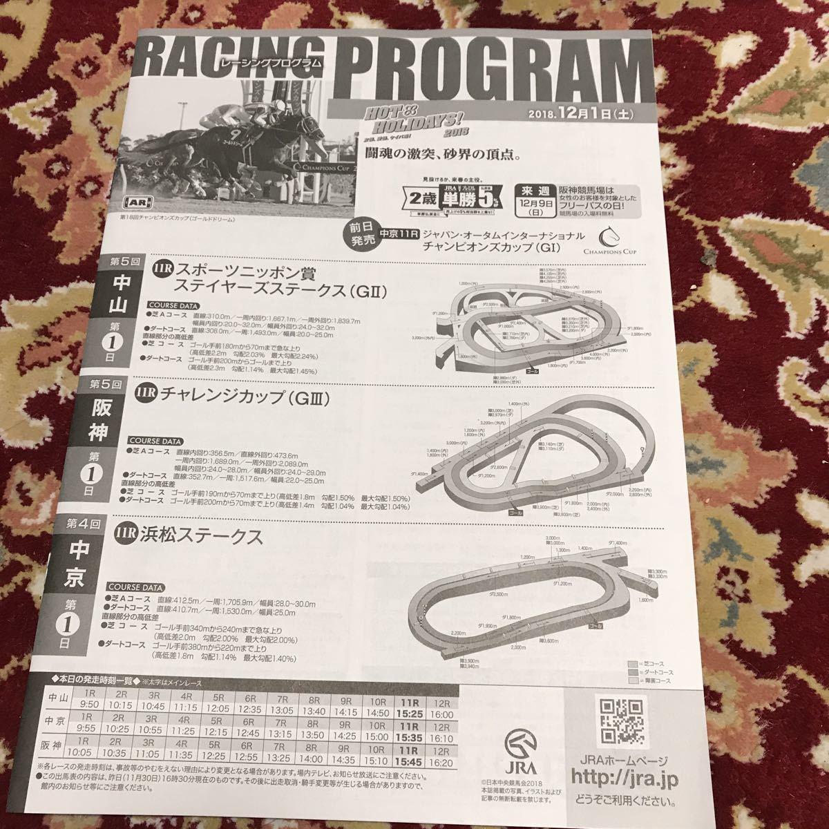 JRAレーシングプログラム2018.12月1日(土)、ステイヤーステークス(GⅡ)、チャレンジカップ(GⅢ)_画像1