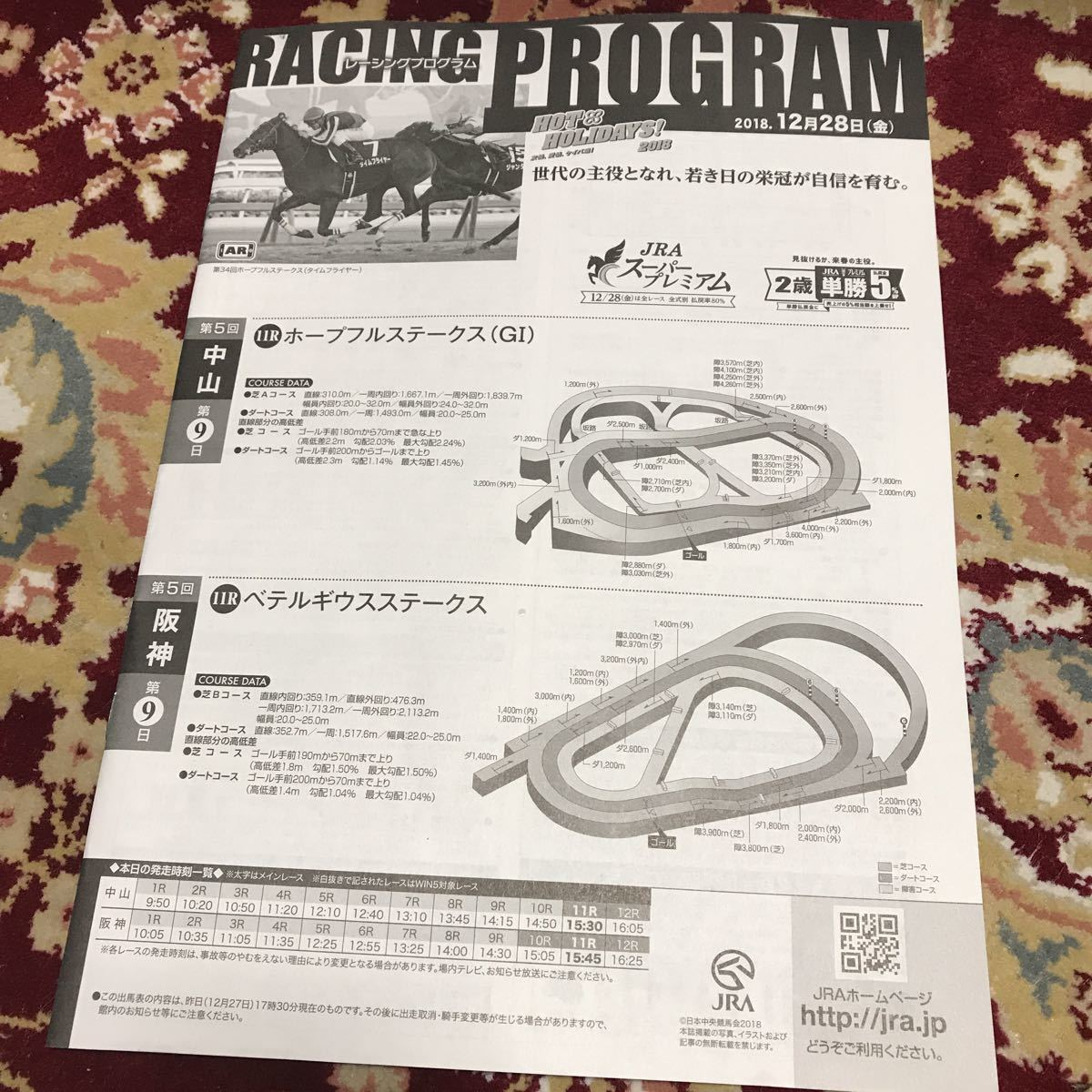 JRAレーシングプログラム2018.12月28日(金)、ホープフルステークス(GⅠ)、ベテルギウスステークス_画像1