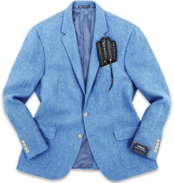 至高の銘品◎!!! ラルフローレン 12万 秋冬 極上厚手ツイードを贅沢に使用した!大人の品格溢れる◎ ロイヤルブルー色 ジャケット 42 XL程