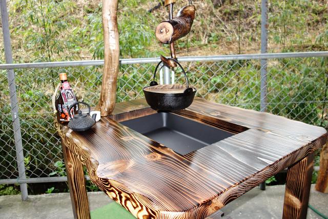 ダイニング囲炉裏テーブル自在鉤付「DEZ-115」おこぜ夢工房の田舎作り一点物